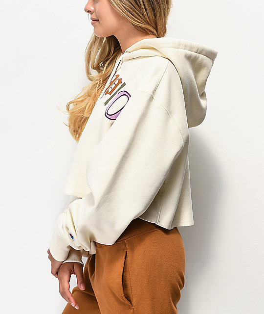 Champion Old English Reverse Weave Chalk Crop Hoodie