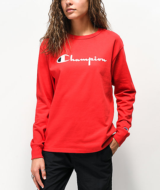 Champion Original Flocked Red Long Sleeve T-Shirt