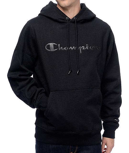 Champion PU Logo Black Super Fleece 2.0 Hoodie