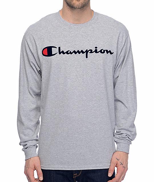 eb3a3fce Champion Patriotic Script Heather Grey Long Sleeve T-Shirt