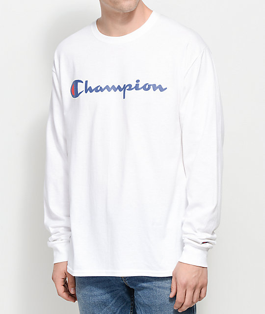 Champion Patriotic Script White Long Sleeve T-Shirt  800d03d918fb