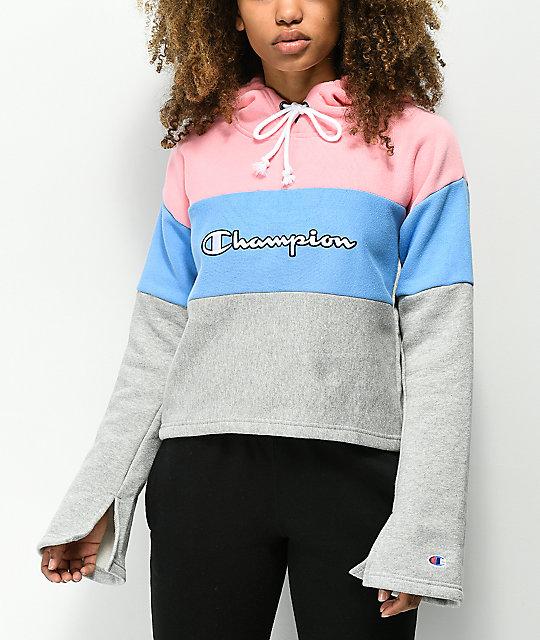 089f8a725242 Champion Pink & Blue Reverse Weave Crop Hoodie