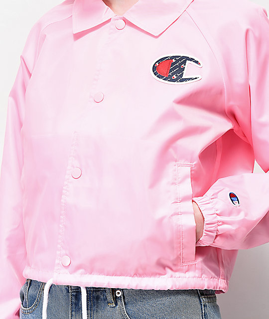 Champion Pink Crop Coaches Jacket