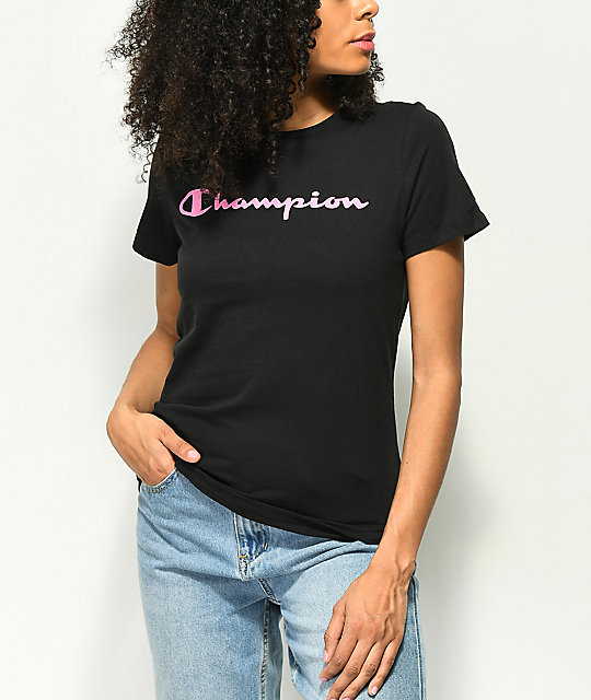 Champion Pink Script Black T-Shirt