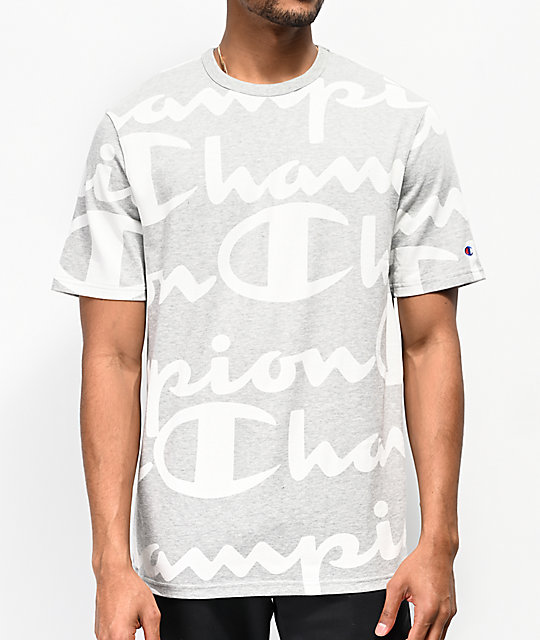Champion Printed Heritage Script Grey T-Shirt