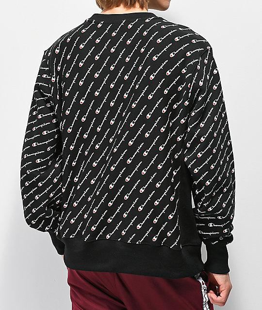 5cb0c2dff ... Champion Reverse Weave All Over Print Black Crew Neck Sweatshirt ...