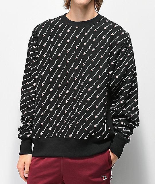 c32bf81b6f73 Champion Reverse Weave All Over Print Black Crew Neck Sweatshirt ...