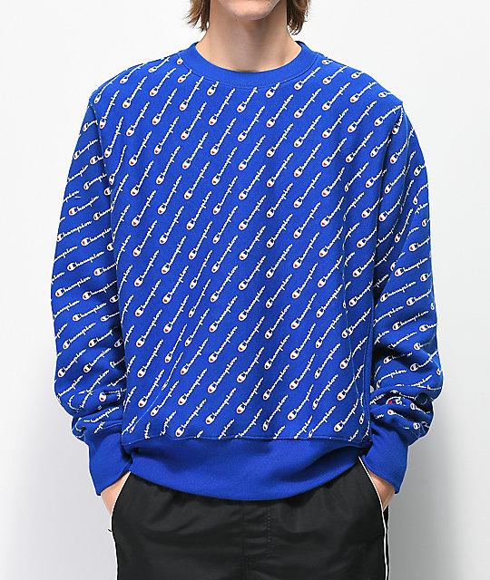 5ccda14b9901 Champion Reverse Weave All Over Print Blue Crew Neck Sweatshirt