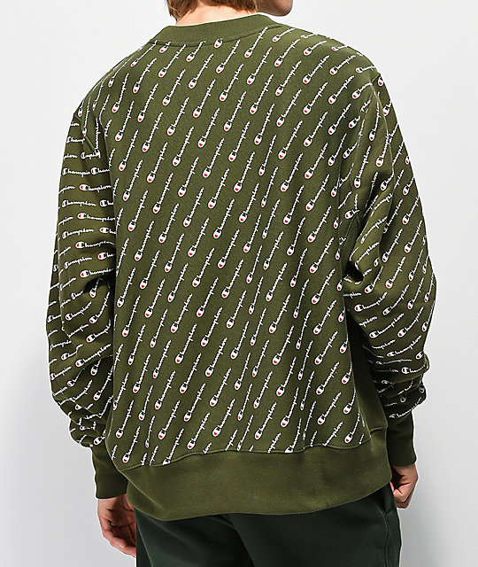 Champion Reverse Weave All Over Print Green Crew Neck Sweatshirt