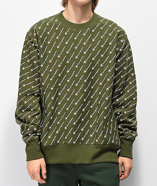 05deabd6e384d2 Champion Reverse Weave All Over Print Green Crew Neck Sweatshirt ...