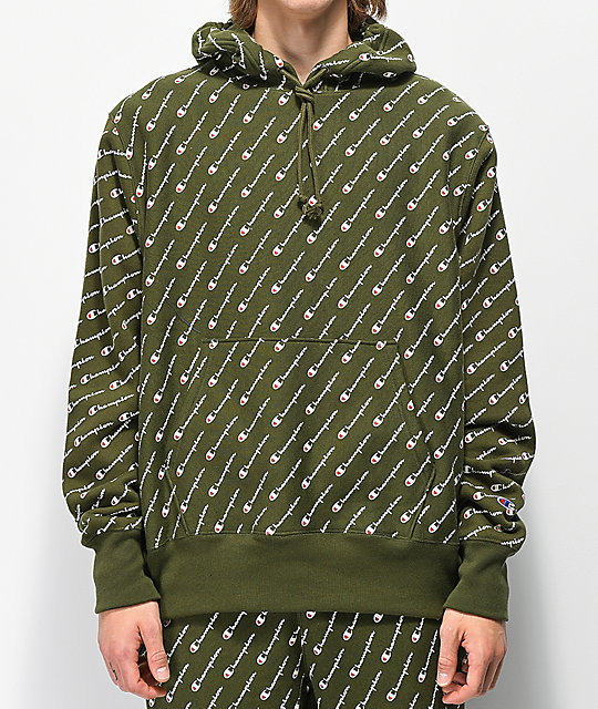 Champion Reverse Weave All Over Print Green Hoodie