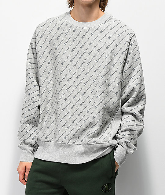 Champion Reverse Weave All Over Print Grey Crew Neck Sweatshirt