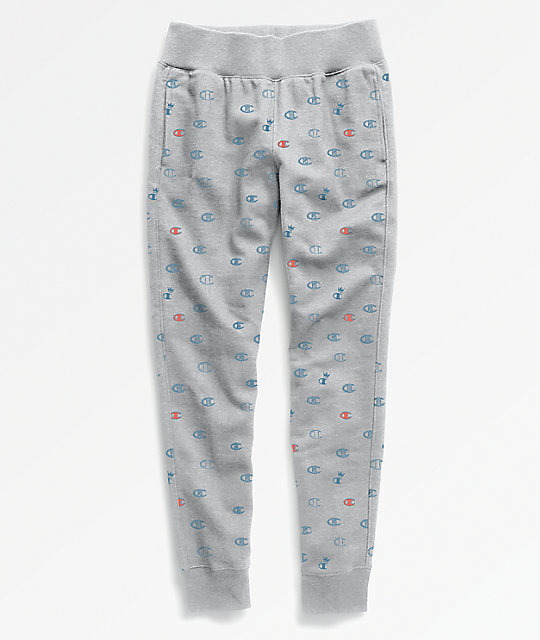 be5a848824e2 Champion Reverse Weave All Over Print Grey Jogger Sweatpants