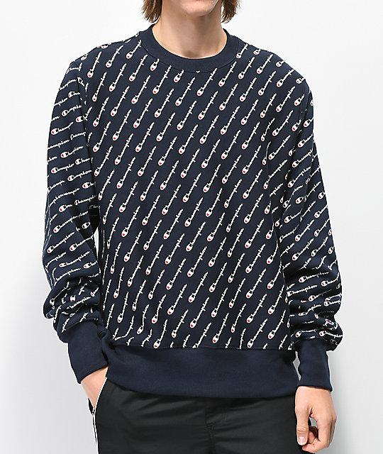 967d917371e4 Champion Reverse Weave All Over Print Navy Crew Neck Sweatshirt