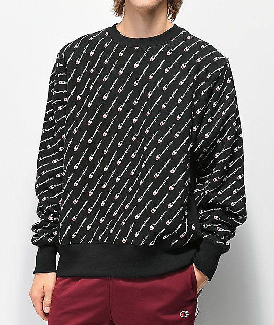 Champion Reverse Weave All Over Print sudadera negra