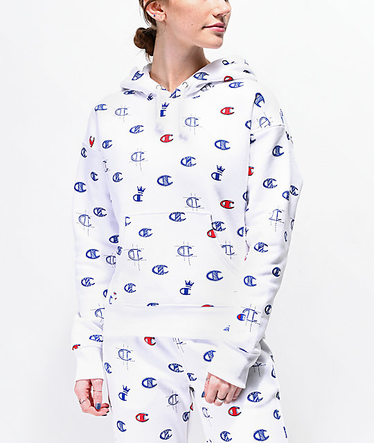 7973ace2eff8 Champion Reverse Weave Allover C White Hoodie