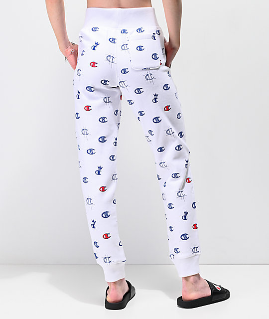 Champion Reverse Weave Allover C White Jogger Sweatpants