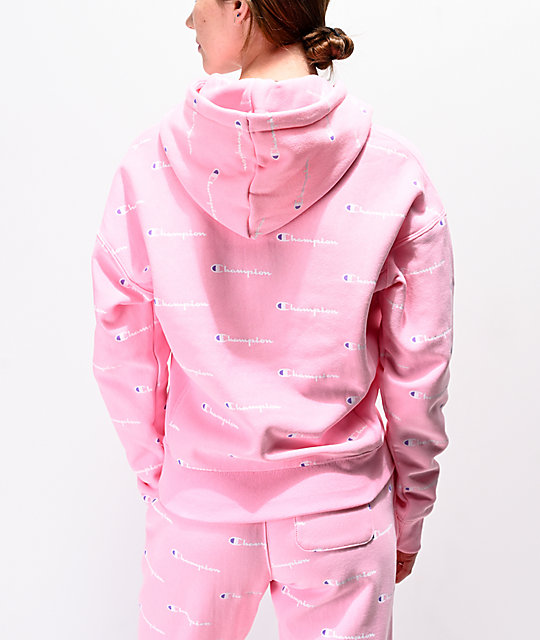 74166946dd90 ... Champion Reverse Weave Allover Logo Pink Hoodie ...
