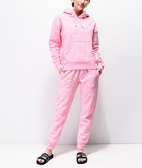 6562d20d90fa ... Champion Reverse Weave Allover Logo Pink Hoodie