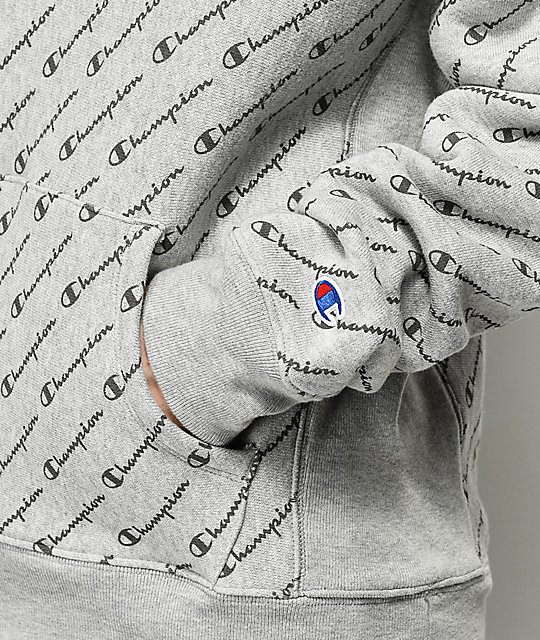 Champion Reverse Weave Allover Script Grey Hoodie