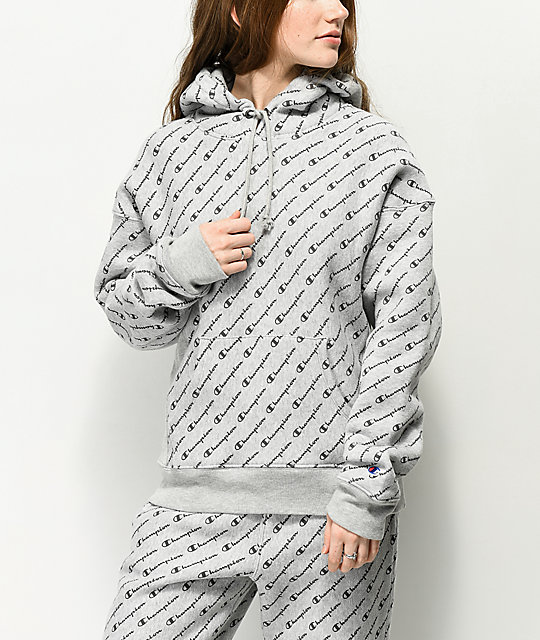 Weave Hoodie Grey Allover Reverse Champion Script kiZXuOP