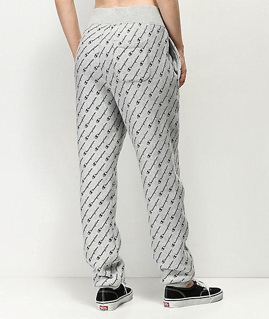 a81a800dc10a ... Champion Reverse Weave Allover Script Grey Jogger Sweatpants