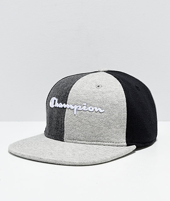 Champion Reverse Weave Black   Grey Colorblock Strapback Hat  abcb3ec4d46