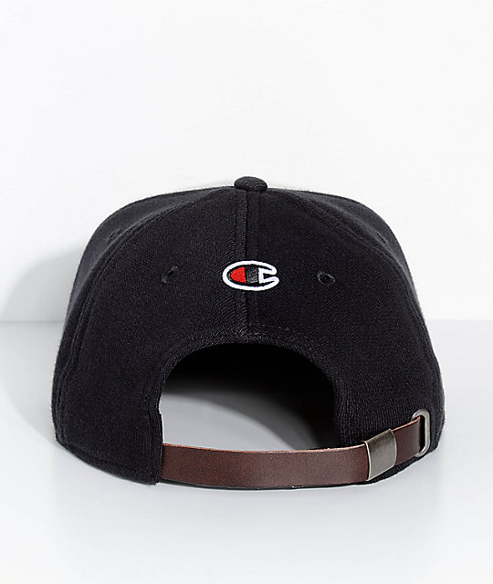 ... Champion Reverse Weave Black   Grey Strapback Hat ... 730267a3f2b