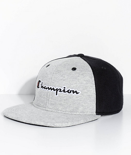 Champion Reverse Weave Black   Grey Strapback Hat  8cac851a08c