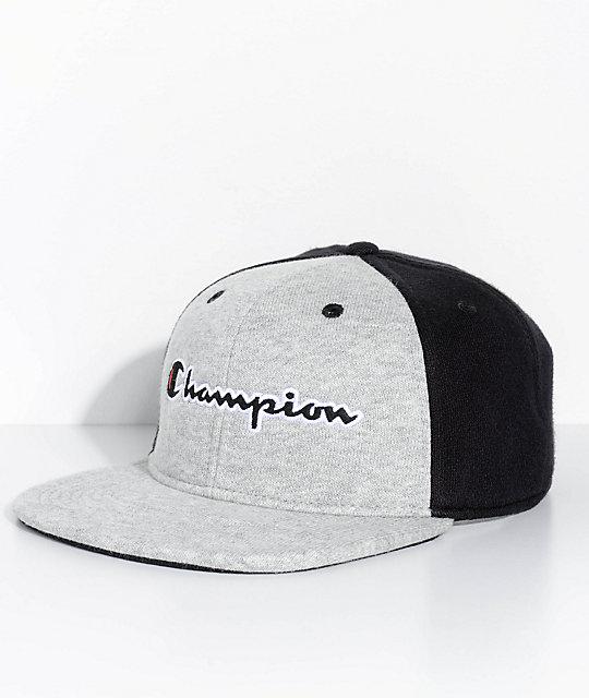 a5af76dbf Champion Reverse Weave Black & Grey Strapback Hat
