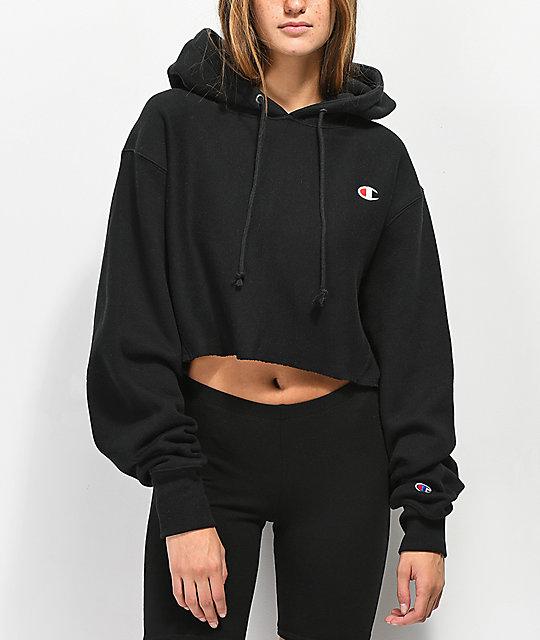 96c002a5d85f Champion Reverse Weave Black Crop Hoodie