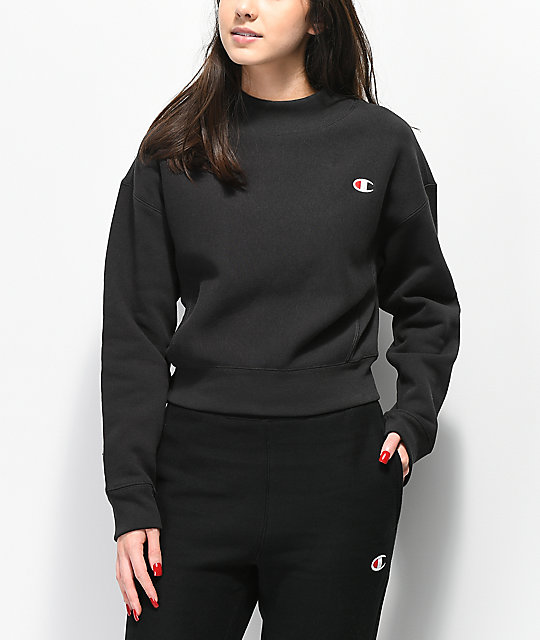 e59bdaaa Champion Reverse Weave Black Mock Neck Crop Sweatshirt | Zumiez
