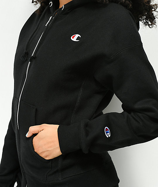Champion Reverse Weave Black Zip Up Hoodie