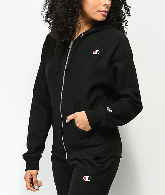 92ae287b Champion Reverse Weave Black Zip Up Hoodie | Zumiez