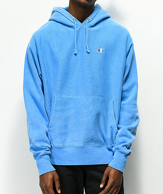 db664b8d907 Champion Reverse Weave Blue Pigment Dyed Hoodie