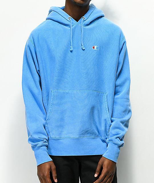 b3290e8c3878c1 Champion Reverse Weave Blue Pigment Dyed Hoodie