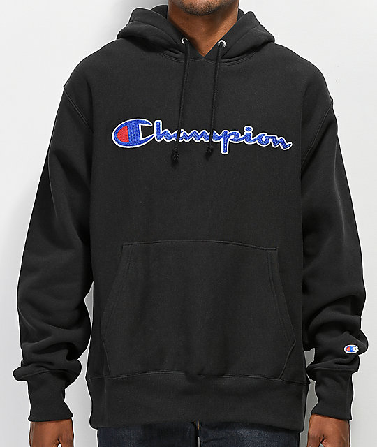 619d577a7d Champion Reverse Weave Chain Stitch Black Hoodie