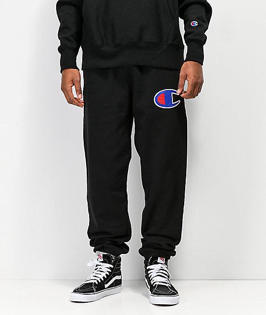 d680afbb4803 Champion Reverse Weave Chain Stitched C Logo Black Jogger Pants