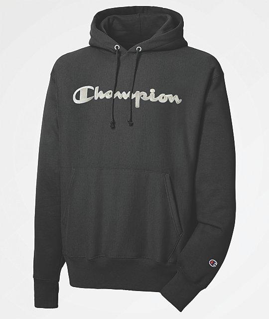 7026bf62db21 Champion Reverse Weave Chainstitch Black Hoodie | Zumiez.ca