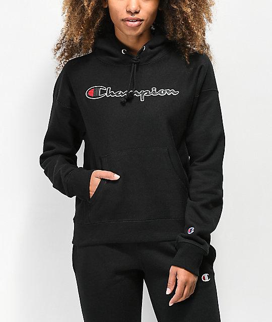fdc2775e4d712 Champion Reverse Weave Chenille Logo Black Hoodie