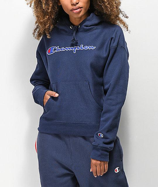 50% hinta 50% alennus edulliseen hintaan Champion Reverse Weave Chenille Logo Indigo Hoodie