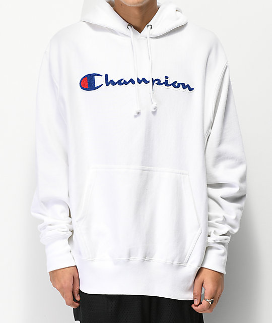 66d11928c3a2 Champion Reverse Weave Chenille Logo White Hoodie