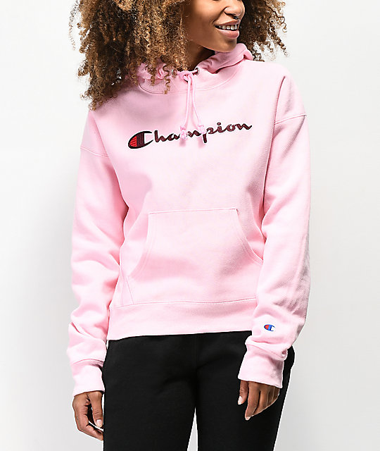 información para 5fcad a9c6b Champion Reverse Weave Chenille Logo sudadera con capucha rosa