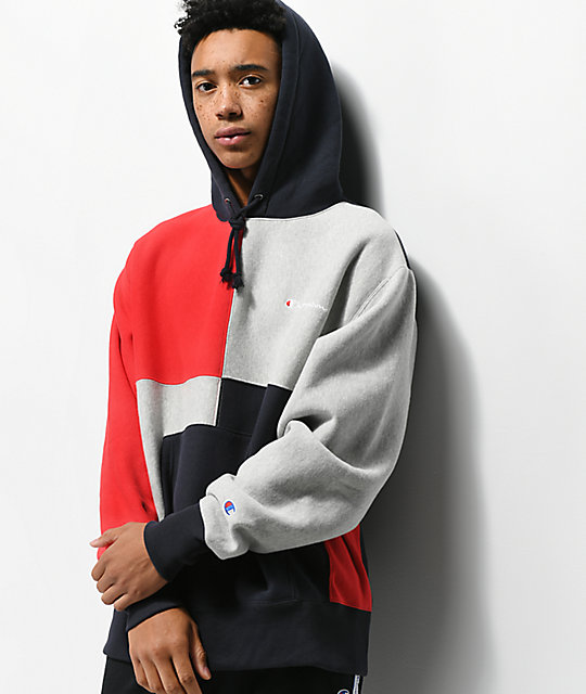 85ba32c97217 Champion Reverse Weave Colorblock Navy Hoodie