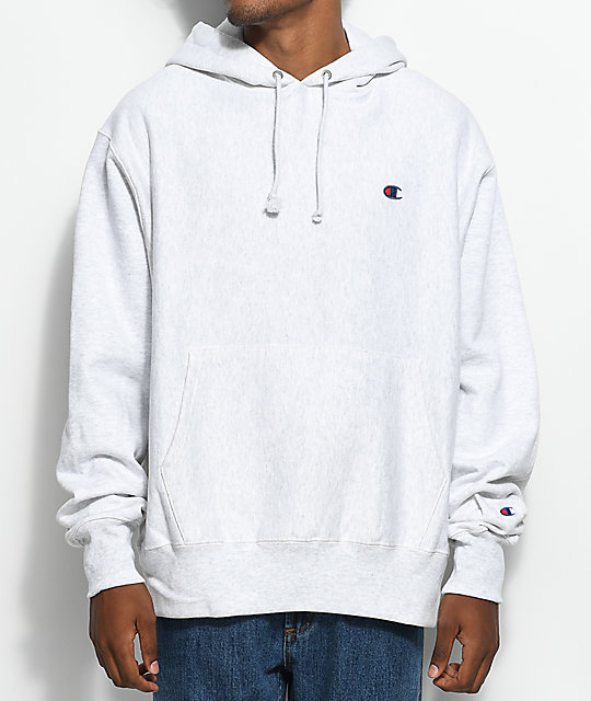 4ae5645b80c1 Champion Reverse Weave Embroidered C Silver Grey Hoodie