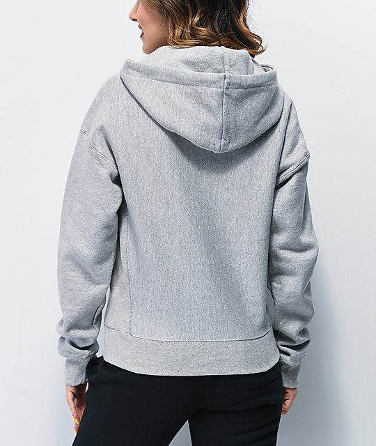 Champion Reverse Weave Floss Stitch C Grey & White Hoodie