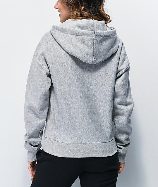 Champion Reverse Weave Floss Stitch C Grey & White Hoodie Item #  314336
