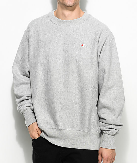 Champion Reverse Weave Grey Crew Neck Sweatshirt ...