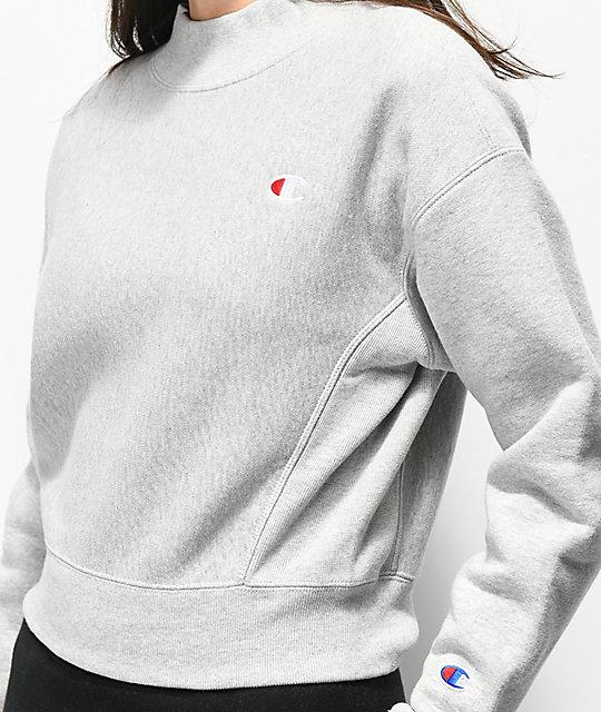 5e278e32 Champion Reverse Weave Grey Crop Crewneck Sweatshirt | Zumiez.ca