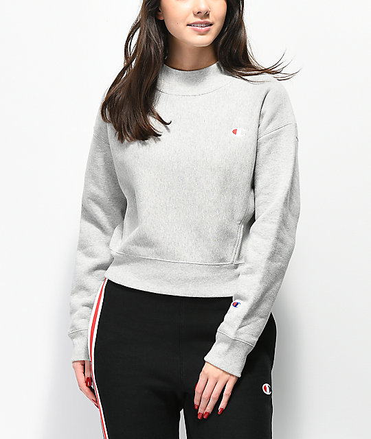 f1df8532 Champion Reverse Weave Grey Mock Neck Crop Sweatshirt | Zumiez